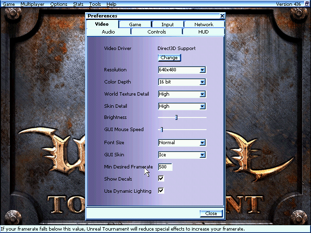 Unreal Tournament Settings